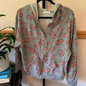 Forever 21 flowered grey and pink hoodie